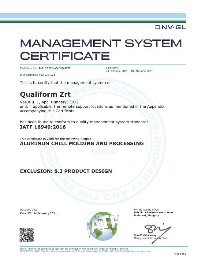 IATF 16949:2016 Qualiform Zrt.