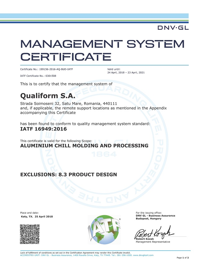 IATF 16949:2016 Qualiform S.A.