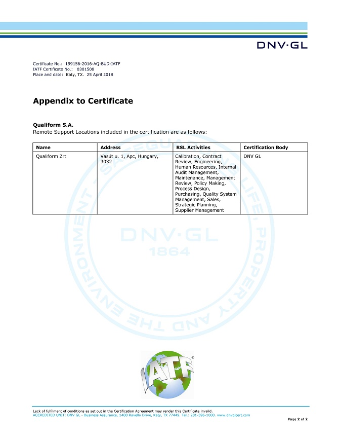 IATF 16949:2016 Qualiform S.A. appendix