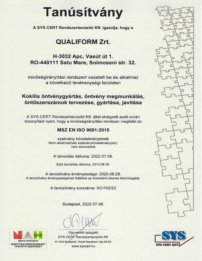 MSZ EN ISO 9001:2015 Qualiform S.A.
